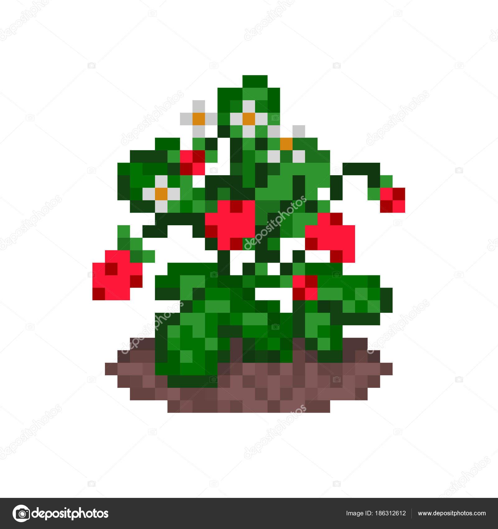 Wild Strawberries On A Bush Growing In A Bed, Pixel Art Icon à Pixel Art Fraise