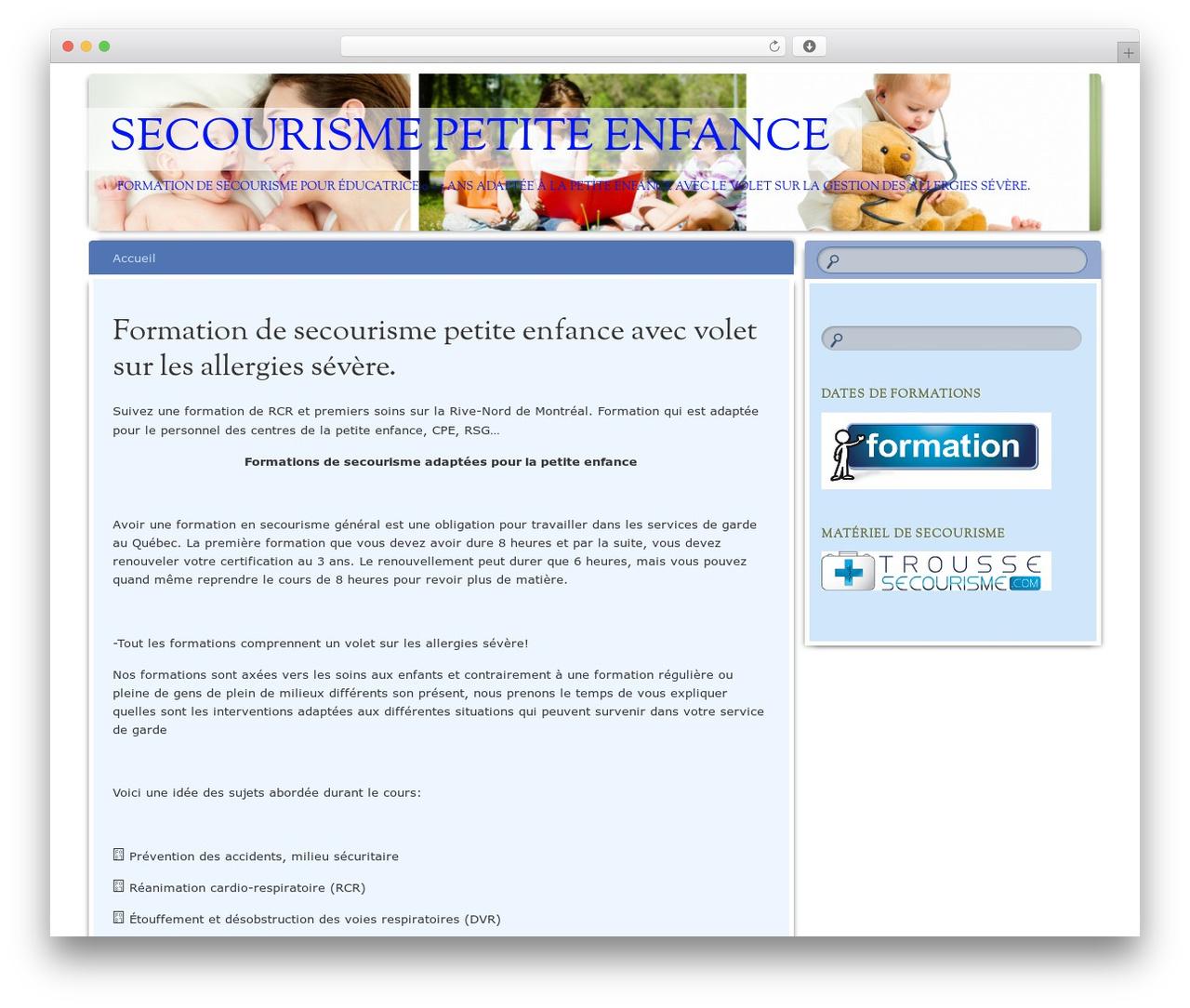 Wordpress Template Bouquet By Automattic - Secourisme-Petite à Site Pour Tout Petit