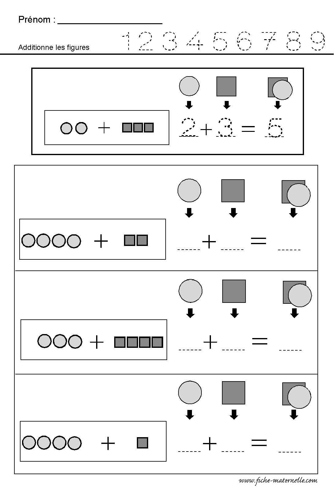 Worksheet Addition Fraction Sunstraction | Printable destiné Addition Maternelle