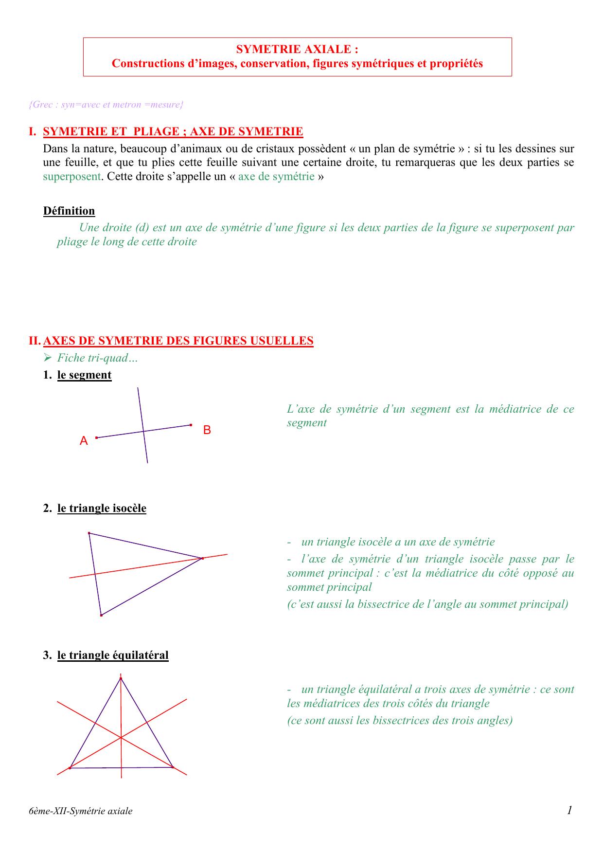 Xii-Symetrie Axiale dedans Symétrie Axial