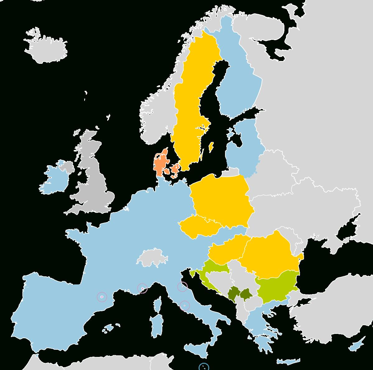 Zone Euro — Wikipédia intérieur Carte Pays Membre De L Ue
