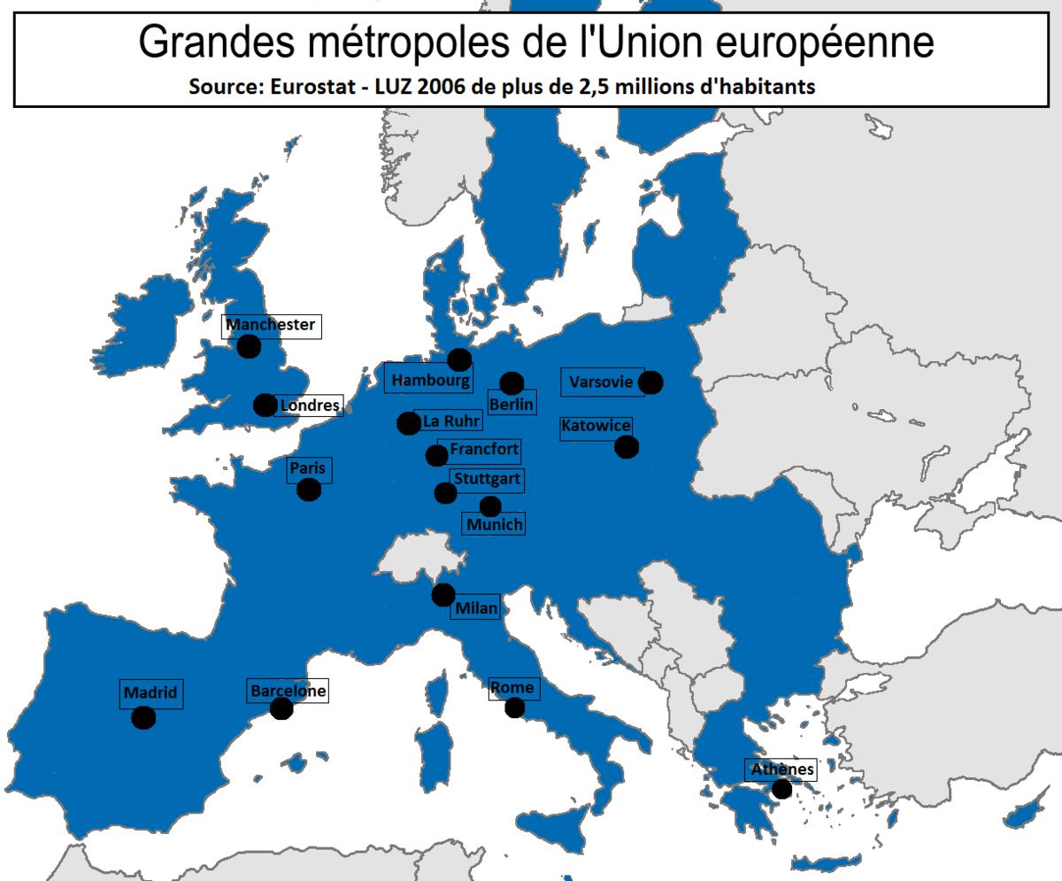 Zone Urbaine Élargie — Wikipédia tout Liste Des Pays De L Union Européenne Et Leurs Capitales