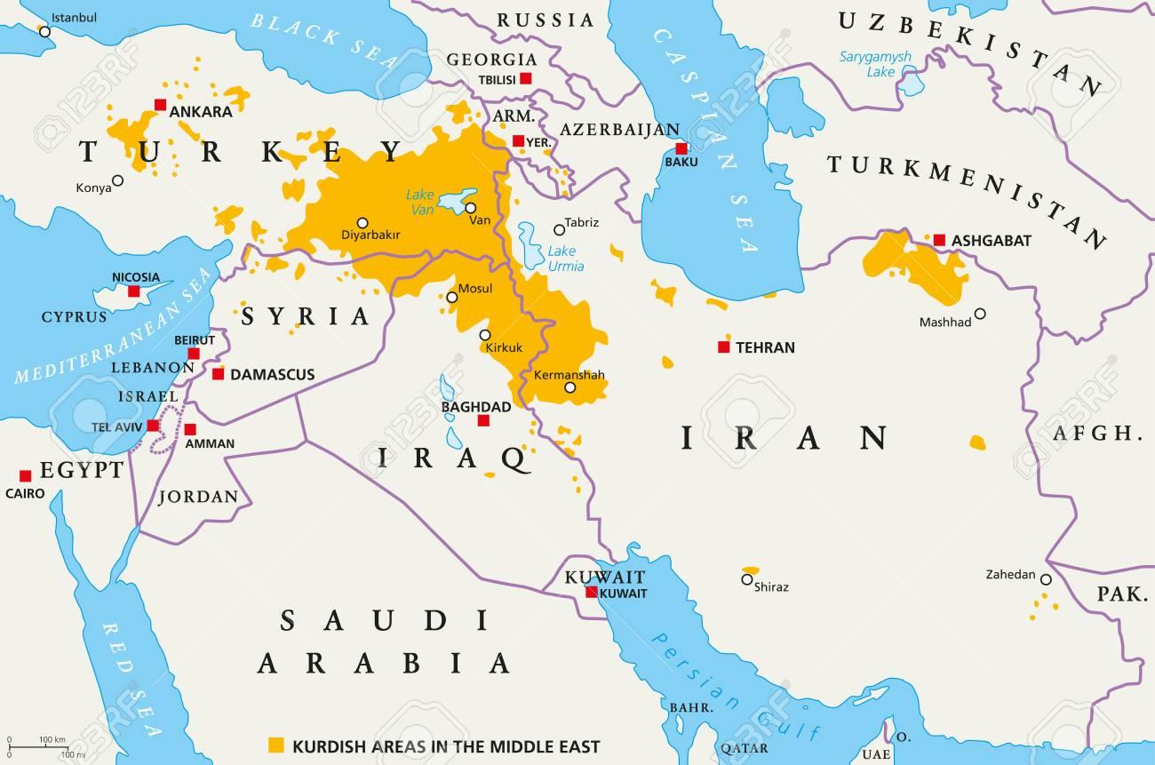 Zones Kurdes Au Moyen-Orient, Carte Politique. Pays Avec Leurs Capitales,  Frontières Nationales Et Villes Importantes. Zones Kurdes De Couleur  Orange. serapportantà Pays Et Leurs Capitales